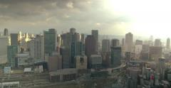 Osaka city pan shot with beautiful light Stock Footage