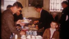 2924 - buffet breakfast at church on Sunday morning - vintage film home movie Stock Footage