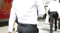 Businessman in white shirt in Hong Kong Stock Footage