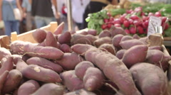 Batatas at the market Stock Footage