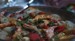 Seafood in restaurant prawns - stock footage