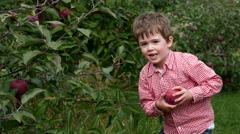 Toddler boy holds up apple he just picked Stock Footage