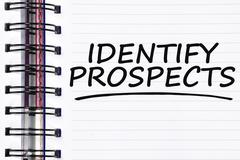 Identify prospects words on spring note book Stock Photos