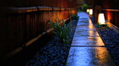The road, illuminated by lanterns in Kyoto. Stock Footage