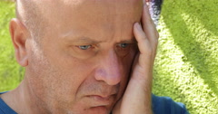 Thinking Alone Person Worried Upset Sorrow Men Waiting Concerned Expression Stock Footage