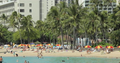 Waikiki beach resort in Hawaii - stock footage