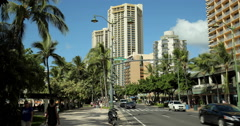 Waikiki Kalakaua Avenue in Hawaii Honolulu Stock Footage