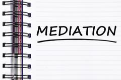 Mediation words on spring note book Stock Photos
