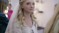 Bride doing makeup - stock footage