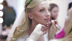 Makeup Lips For The Bride. Wedding. Stock Footage