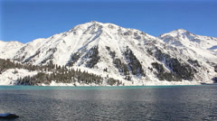 Winter Lake Panorama - stock footage