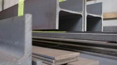 Steel elements loaded on truck Stock Footage