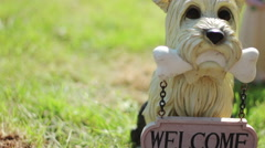 Dog with a sign welcome.NTSC. Stock Footage