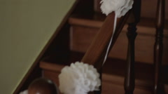 Wedding decoration railing on the stairs.NTSC. Stock Footage