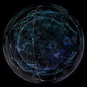 Stock Illustration of Global network internet technologies. Digital world map