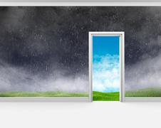 Bad weather on the wall of room and a good outside door - stock photo
