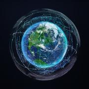 Earth planet global network communication. Satellite navigation. Digital - stock illustration
