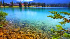 4K Crystal Clear Blue Water Lake, Mountain Forest Beautiful Nature Landscape Stock Footage