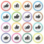 Thumbs up, set light round buttons - stock illustration