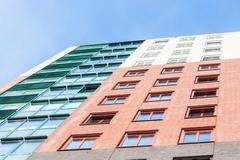 Colorful facade of a skyscraper Stock Photos