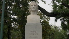 Mihai Eminescu bust statue in Bucharest Stock Footage