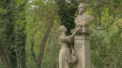 Woman statue standing near Traian Demetrescu bust statue in Bucharest Stock Footage