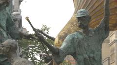 Man with hat statue at Cristian Pațurcă Monument in Bucharest Stock Footage