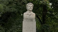 Ion Creangă bust statue in Cismigiu Gardens, Bucharest Stock Footage