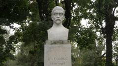 George Cosbuc bust statue in Cismigiu Gardens, Bucharest Stock Footage