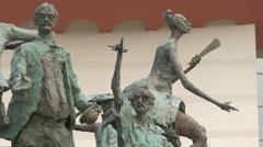 Cristian Pațurcă Monument  with statues in Bucharest - stock footage