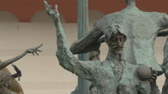 Man with mustache statue at Cristian Pațurcă Monument in Bucharest Stock Footage