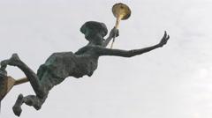 Statue with trumpet at Cristian Pațurcă Monument in Bucharest - stock footage