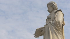 View of Gheorghe Lazar's statue in Bucharest Stock Footage