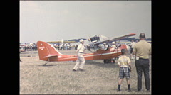 Vintage 16mm film, 1966, Air-show, b-roll Curtiss Wright with flyby Stock Footage