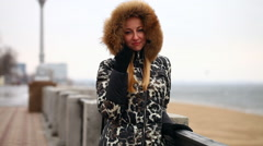Woman in Fur Hood Stock Footage