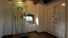 Theutonic Knight's clothes displayed at Bran Castle Stock Footage