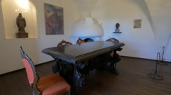 Medieval dinner table at Bran Castle Stock Footage