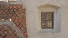 Small window on Bran Castle's facade Stock Footage