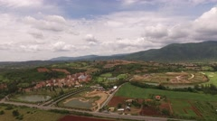 Aerial view of toscan style house valley, khao yai, Nakhon ratchasima, Thailand Stock Footage