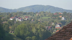 Overview of Bran, as seen from the Bran Castle Stock Footage