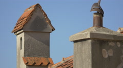 Chimney on Bran Castle's roof - stock footage