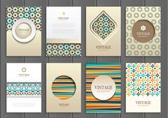 Stock vector set of brochures in vintage style - stock illustration