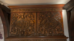 Close up view of an antique carved cabinet at Bran Castle Stock Footage