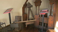 Medieval torture instruments at Bran Castle - stock footage