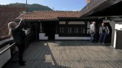 Terrace of Bran Castle - stock footage