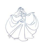 belly dancer ink sketch gesture drawing - stock illustration
