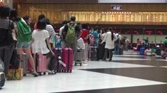 4K crowd of people travelers wait in the line for buy train ticket, Taiwan-Dan Stock Footage