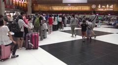 4K crowd of people travelers wait in the line for buy train ticket, Taiwan-Dan Stock Footage