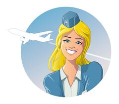 Good-looking flight attendant with a friendly smile - stock illustration
