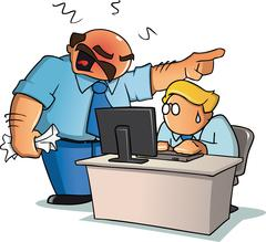 An angry boss yelling to his employee behind an office desk - stock illustration